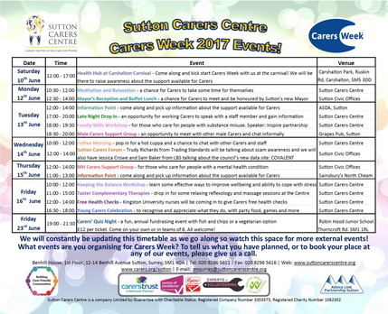 Carer's Week 2017 Events Timetable