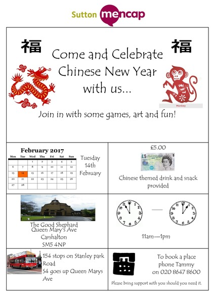 Celebrate Chinese New Year with Sutton Mencap Poster