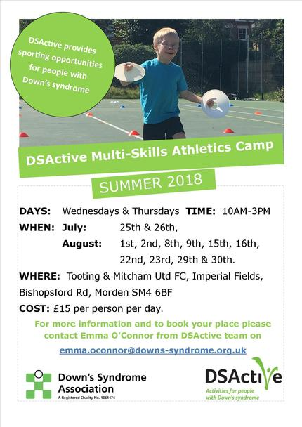 DSActive Athletics Summer Camp Advert