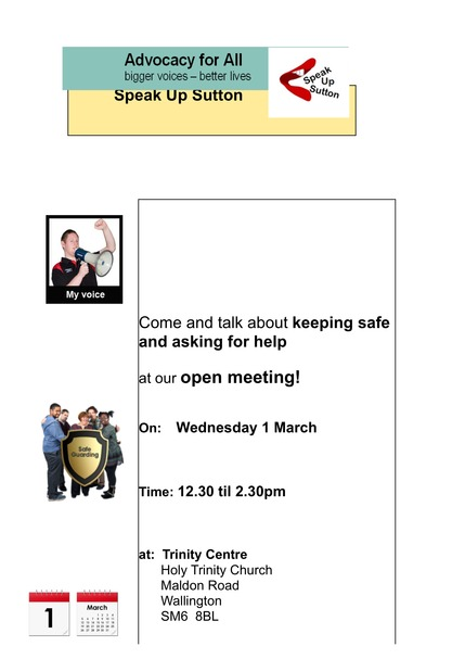 Speak up Sutton meeting Poster